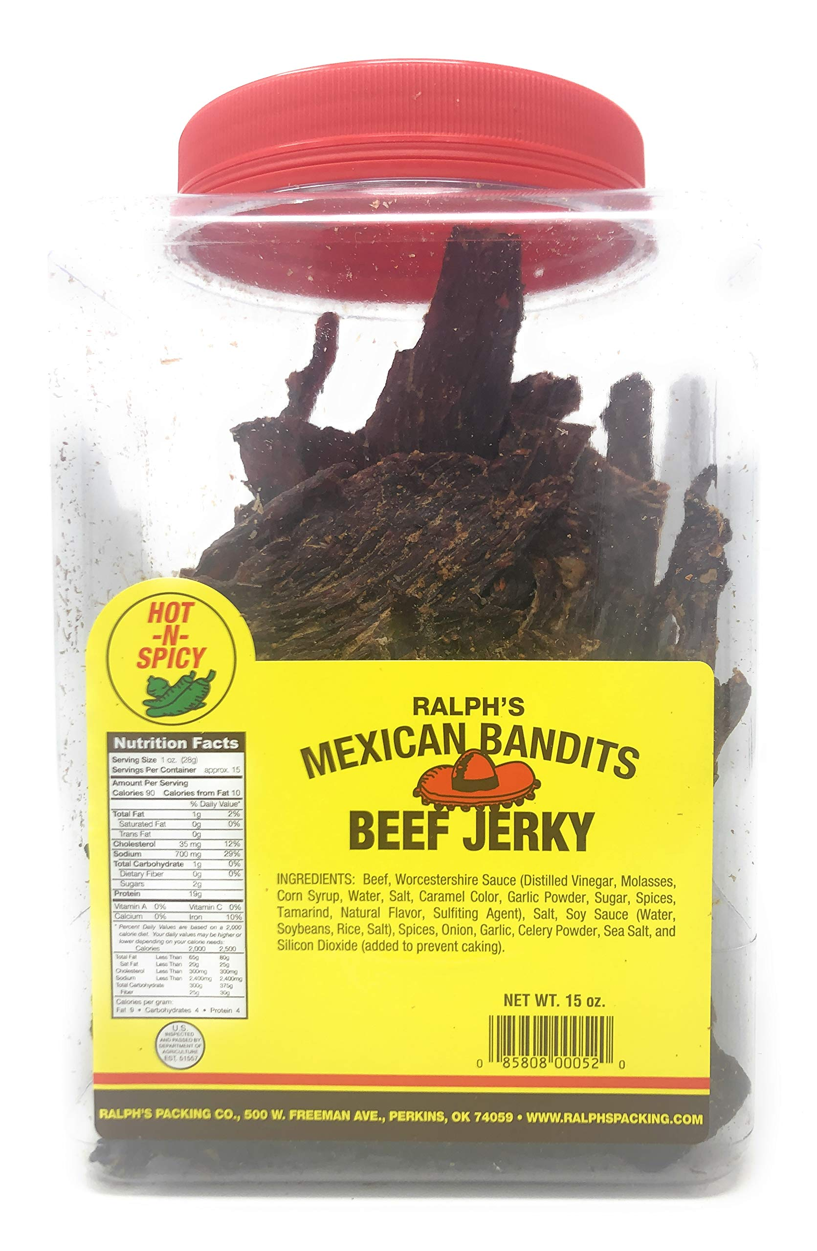 Ralph's Beef Jerky Mexican Bandits Hot 15oz Jar Dry Thin Crunchy Jerky Real Beef Jerky