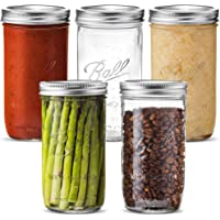 Ball Wide Mouth Mason Jars (24 oz/1.5 Pint) [5 Pack] with Airtight lids and Bands - for Canning, Fermenting, Pickling, Freezing - Glass Jars, Microwave & Dishwasher Safe. + SEWANTA Jar Opener