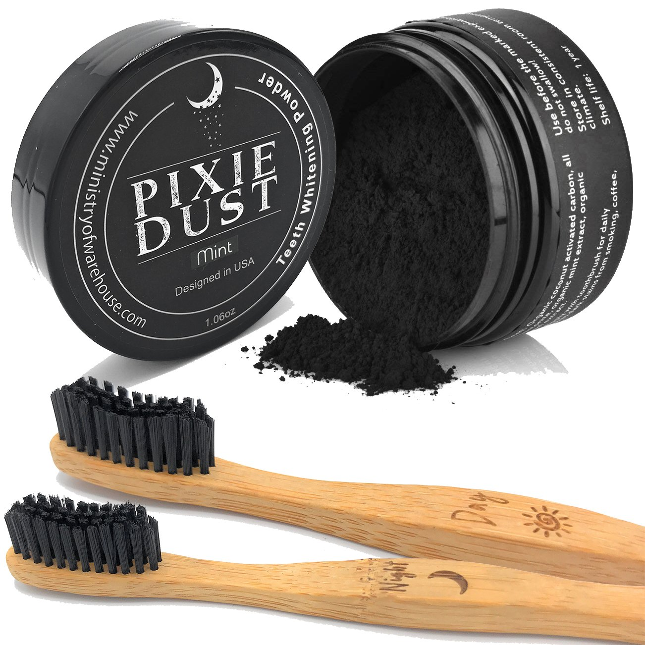 Activated Charcoal Powder w/Bamboo Toothbrush Natural Teeth Whitening Mint Flavored Organic Oral Hygiene Non Abrasive Ultra Fine