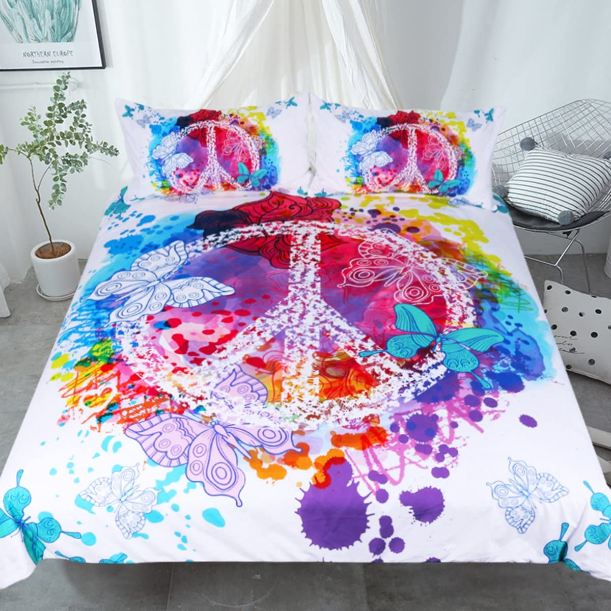 Sleepwish Hippie Psychedelic Butterfly Duvet Cover Peace Sign Bedding Boys Girls Watercolor Modern Colorful Art Bedspread (Queen)