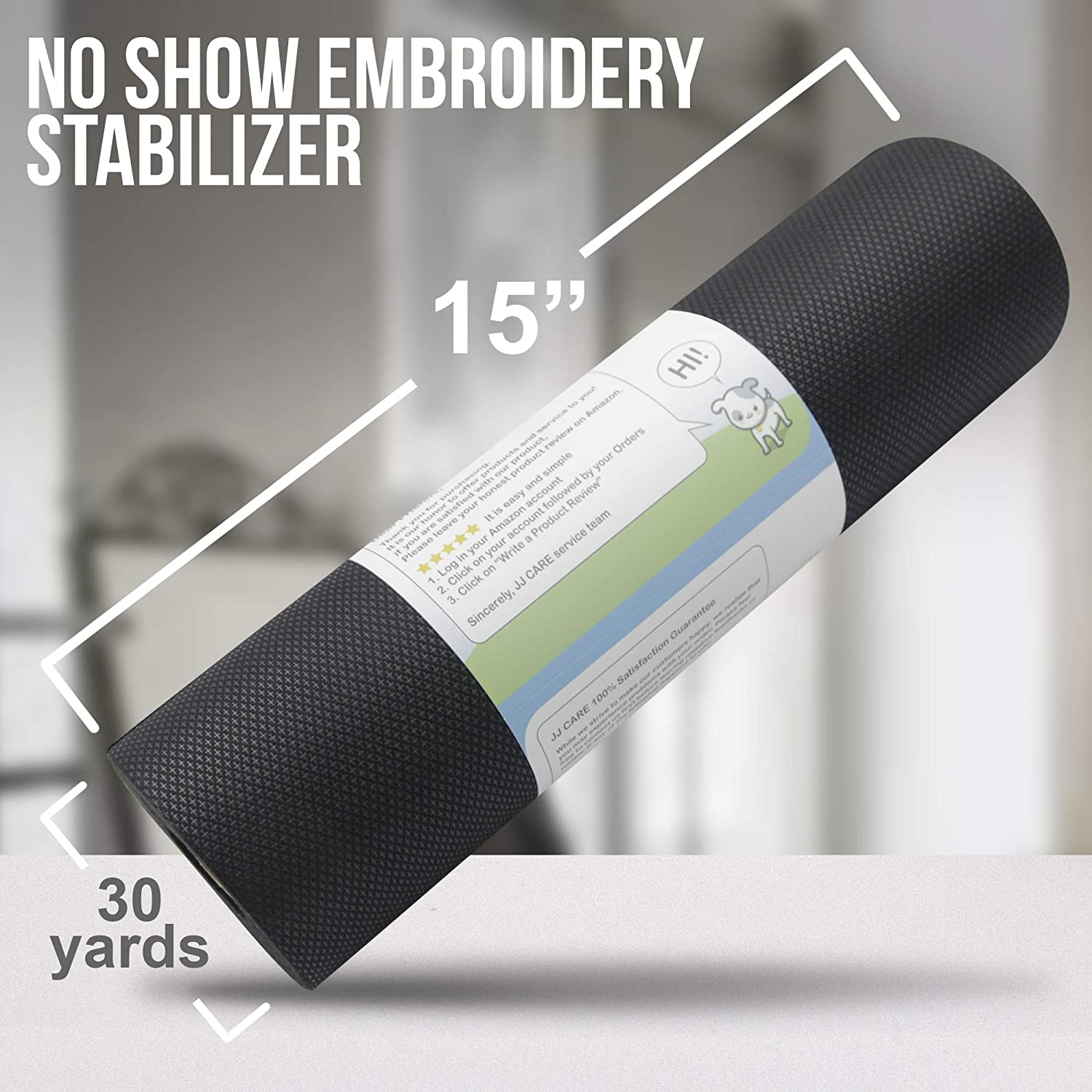 """Hoop and Stitch No Show Mesh Stabilizer for Embroidery Permanent No-Show Poly Mesh Backing for Machine Embroidery White Translucent Nylon Spun Free Pen /& Snip 15/""""x120 Yards Hand Sewing"""