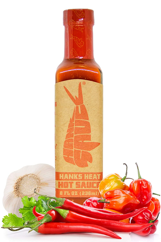 Hank Sauce Hank's Heat Hot Sauce - Versatile Hot Pepper Sauce with Fresh Basil, Garlic & Aged Peppers - Hot Garlic Sauce with Mild Heat & Unique Flavor - Multipurpose Habanero Sauce - 8 Ounces