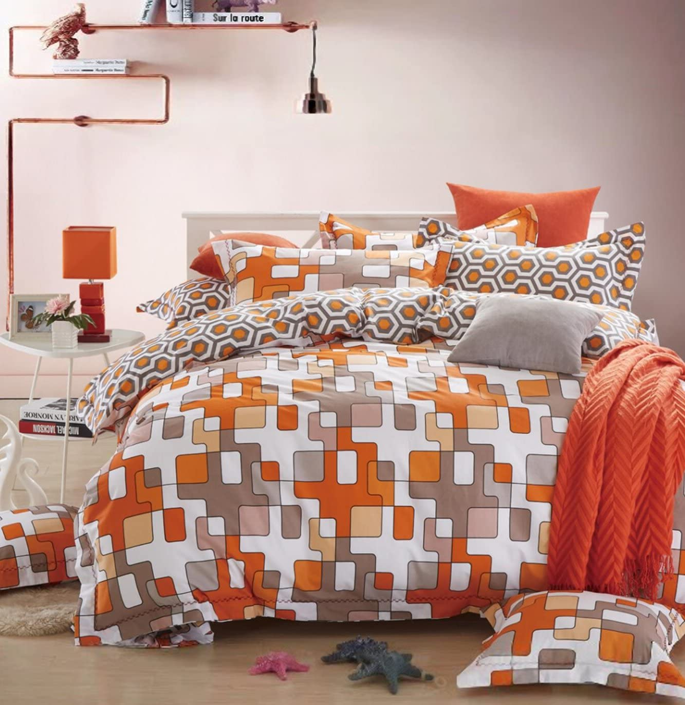 Amazon Com Minimal Style Geometric Shapes Duvet Quilt Cover Scandinavian Midcentury Modern Geo Print 100 Percent Cotton Bedding Set Soft Casual Retro Mosaic Orange Blush Taupe Full Queen Or Twin King Orange Home