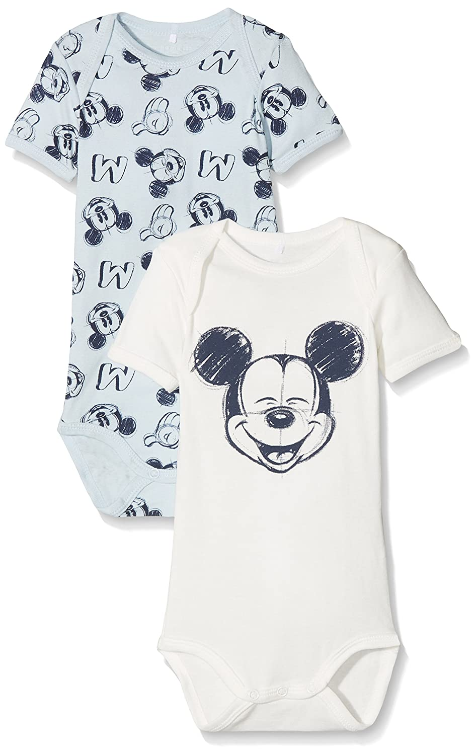NAME IT Baby-Jungen Nmmmickey Bert Ss Body Wdi Noos, 2er Pack Mehrfarbig (Baby Blue) 98 13153231