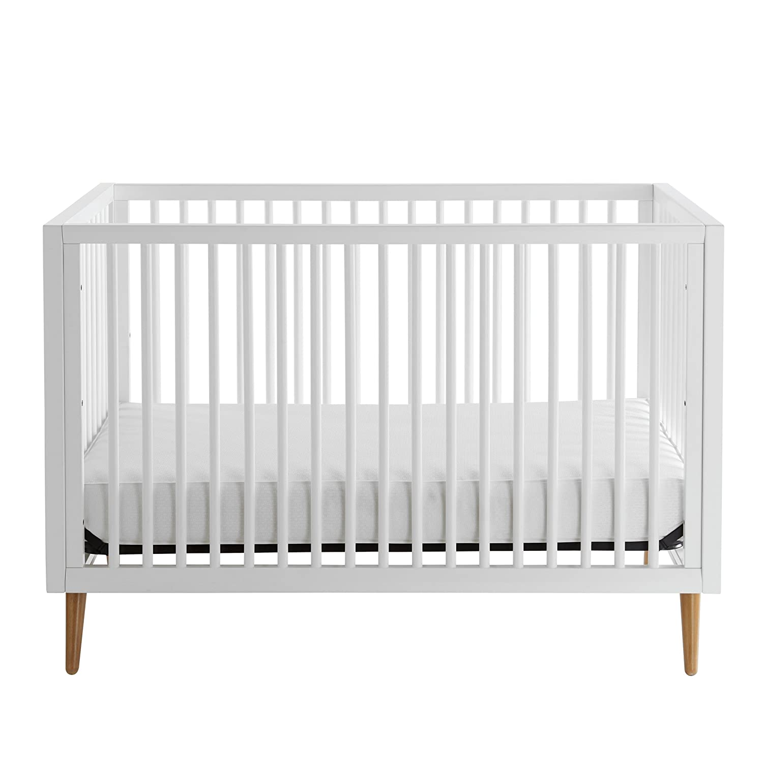 Kolcraft 3-in-1 Roscoe Convertible Crib – Easy-to-Assemble, Built-In Hardware, Mid Century Modern Design, 3 Mattress Height Positions, White