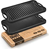 Fresh Australian Kitchen Large Pre-Seasoned Cast Iron Griddle. Reversible Flat Stove Top Double Burner Grill BBQ Plate. 51x26 CM. Thick, Strong and Durable.