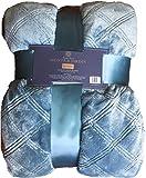 "Monte & Jardin QUEEN Aqua Blue Jacquard Luxury Velvet Blanket Super Soft Size 98""x92"", Diamond Pattern"