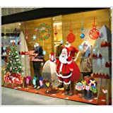FINEJO New Christmas Wall Sticker DIY Santa Claus Xmas Tree Window Home Decoration