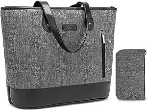 Laptop Tote Bag DTBG 15.6 Inches Women Shoulder Bag Nylon Briefcase Casual Handbag Lightweight Laptop Case for Work Business Shopping Travel(Grey)