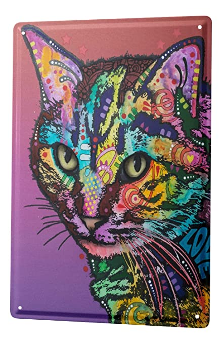Cartel Letrero de Chapa Gato Gato de colores