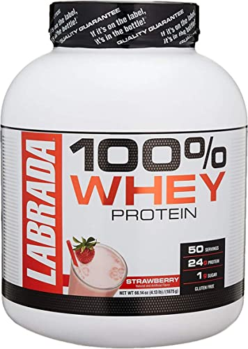 Labrada Nutrition Lean Pro 100 Whey Protein Powder, Strawberry, 4.13 lb