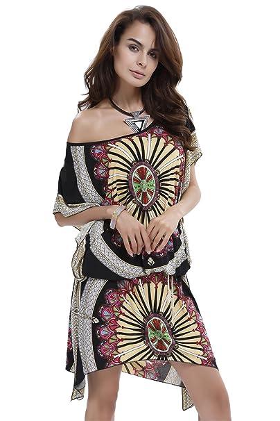 Haroty vestidos tallas grandes Mujer Cuello redondo vestido largos Elegantes Imprimir Desigual Vintage manga corta verano