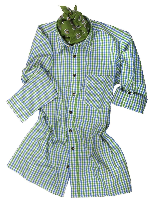 Top-Quality Trachtenhemd Herren - Grün/Blau-Karo/kariert - Langarm/Kurzarm - Komfort Baumwolle