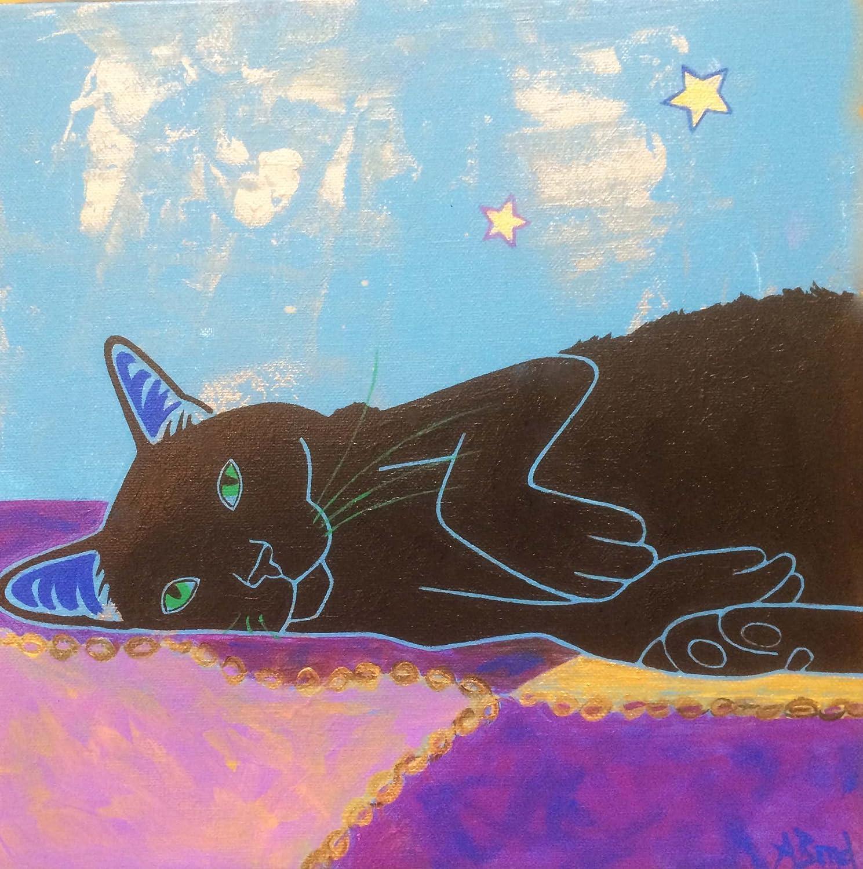 Narcoleptic Friend Cat Tile Coaster, Black Cat Home Decor by Angela Bond