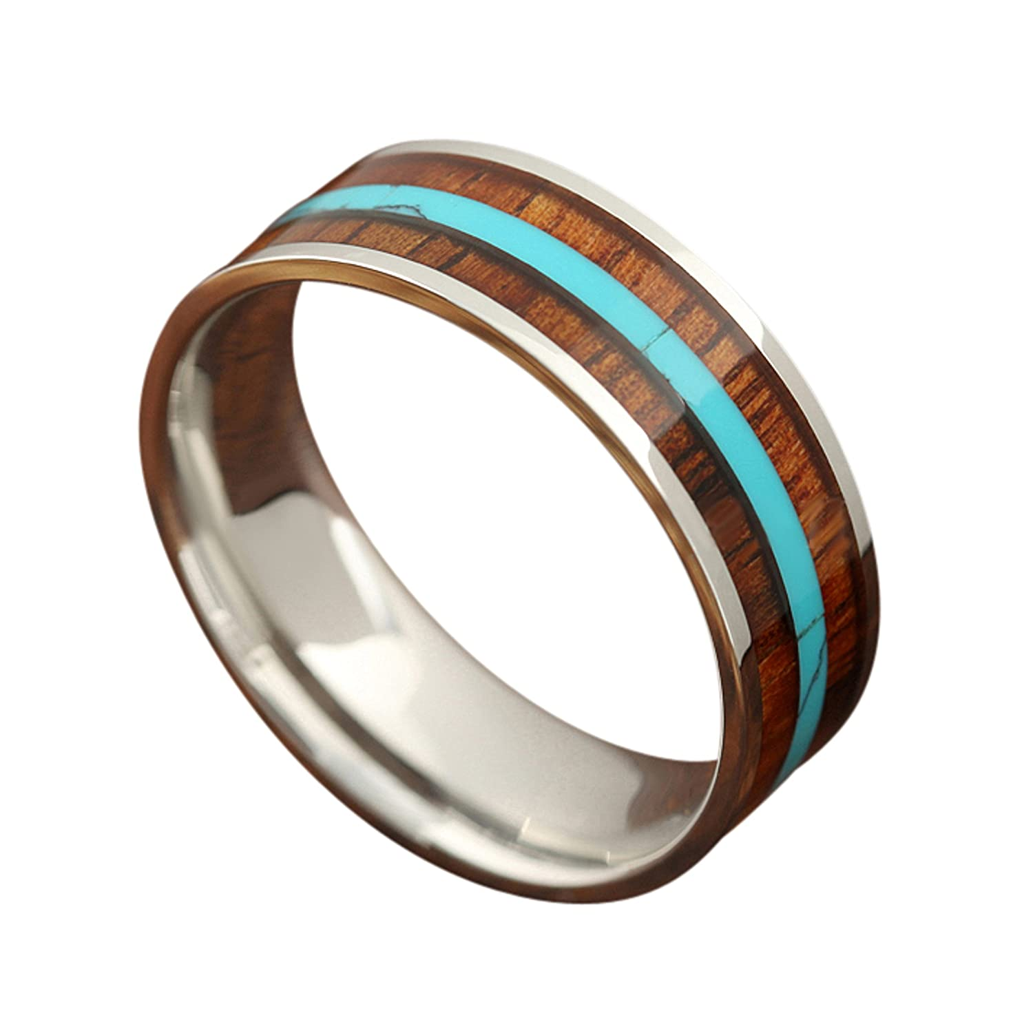 8mm Ring with Genuine Koa Wood Inlay and a Natural Turquoise