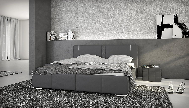 Designer bett 140x200  Designerbett Ricci 180x200 inkl. LED grau: Amazon.de: Küche & Haushalt