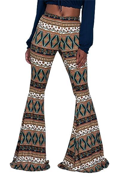 70fbac4b1ae1b7 Women's Retro Aztec Print Fold Over Bell Bottom Flare Pants Leggings S