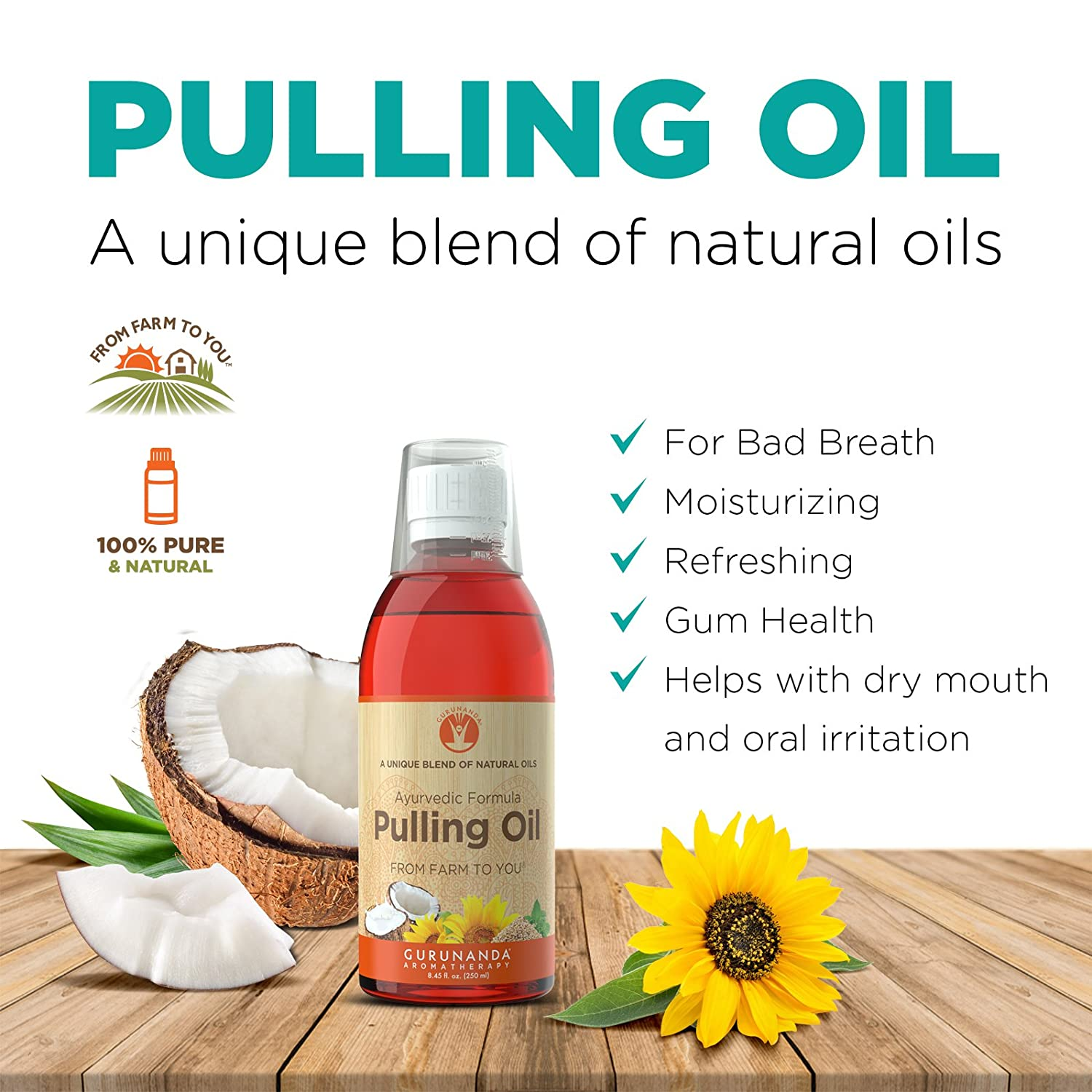 GuruNanda Oil Pulling Oil, Natural Mouthwash, Ayurvedic Blend of Coconut, Sesame, Sunflower, & Peppermint Oils. A Refreshing Oral Rinse - Helps Bad Breath, Healthy Gums + Whitens Teeth. (8.45 fl. oz).: Health & Personal Care