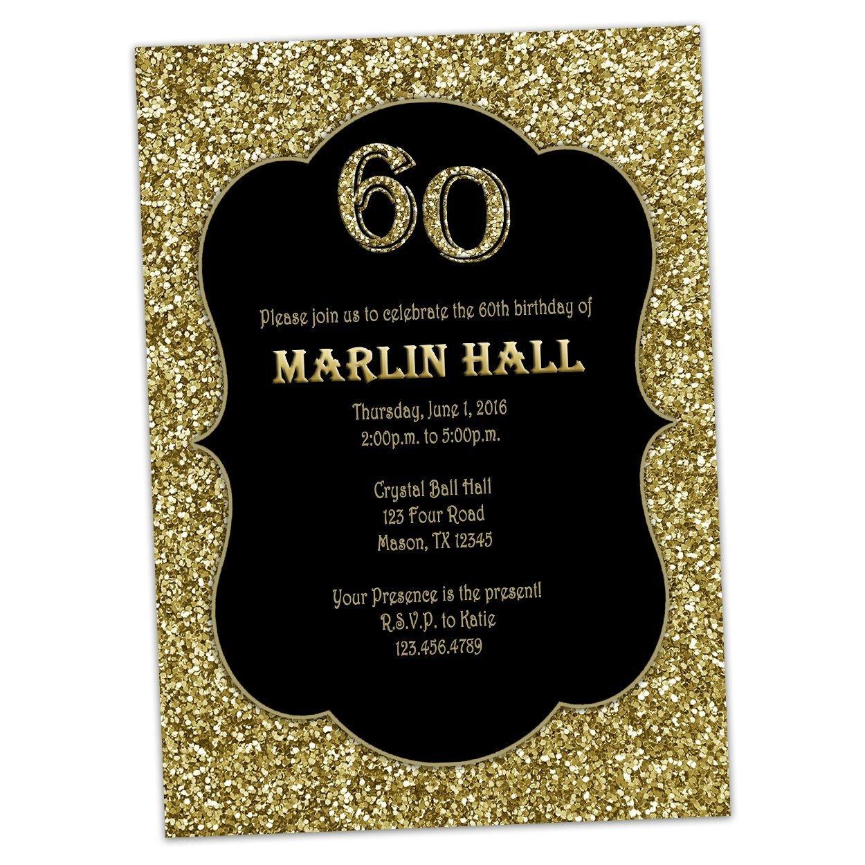 Amazon.com: Black Gold Glitter Birthday Invitations Men Women 30th ...