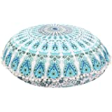 "Large 32"" Round Pillow Cover, Decorative Mandala Pillow Sham, Indian Bohemian Ottoman Poufs, Pom Pom Pillow Cases, Outdoor Cushion Cover (Pattern 5)"