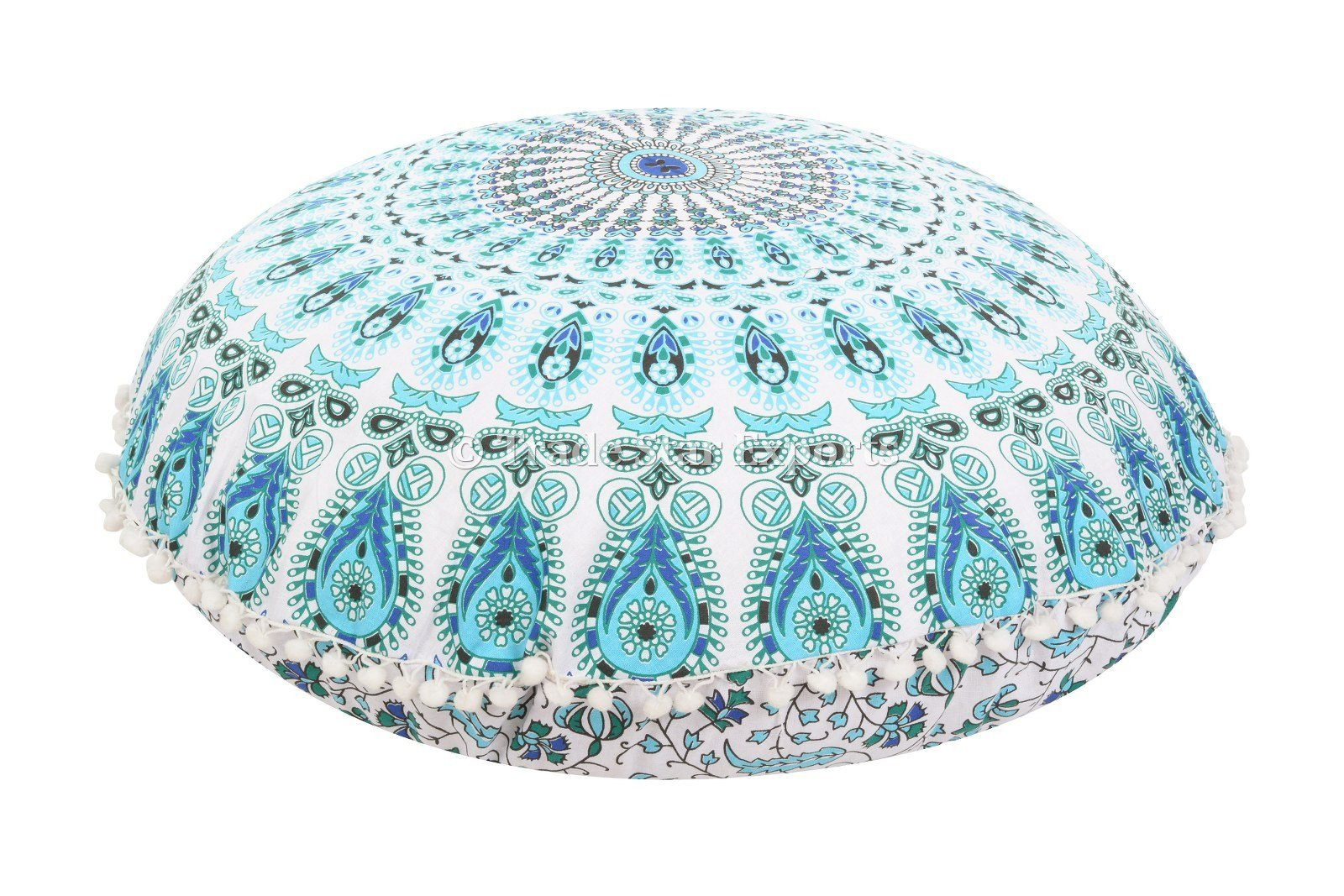 Large 32'' Round Pillow Cover, Decorative Mandala Pillow Sham, Indian Bohemian Ottoman Poufs, Pom Pom Pillow Cases, Outdoor Cushion Cover (Pattern 5)
