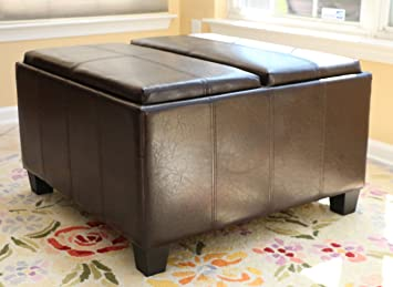 Home Life Leather Espresso Tray Top Storage Ottoman