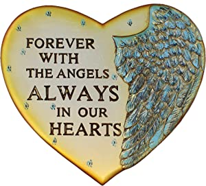 Top Brass Angel Wing Heart Memorial Plaque - Wall & Garden - Forever with The Angels Always in Our Hearts