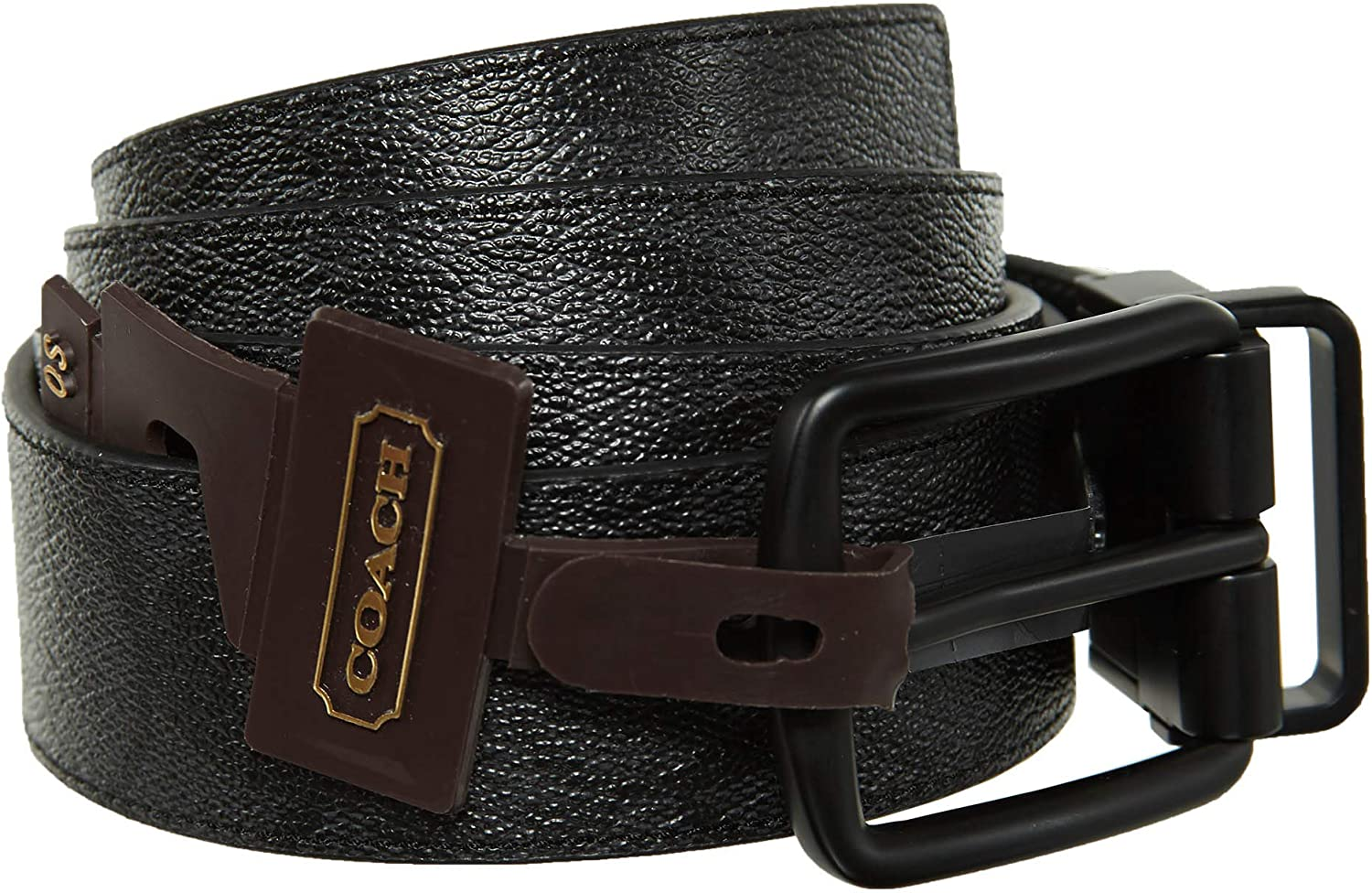 Coach Heritage Signature Coated Canvas Reversible Belt 64825 Charcoal Black