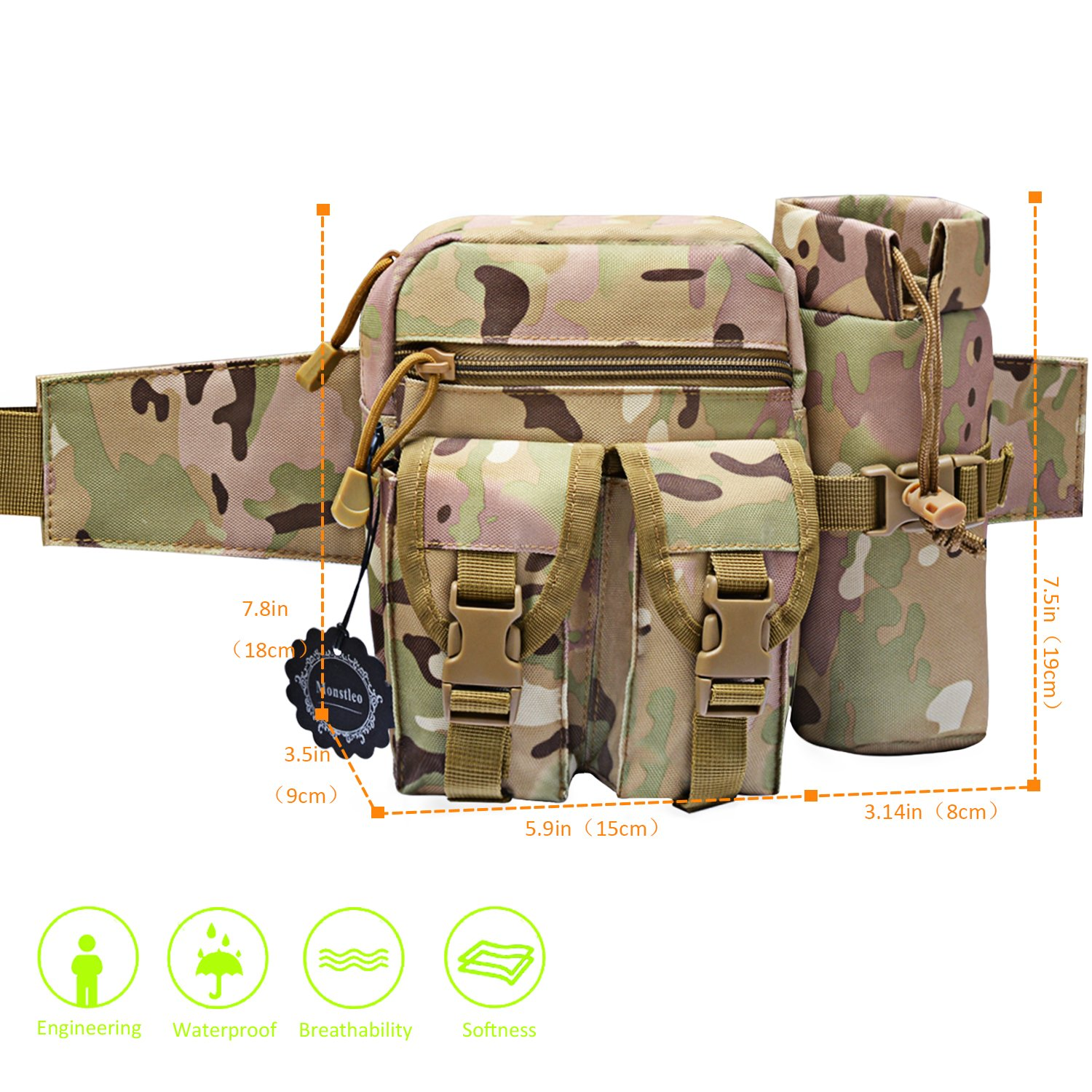 Tactical Waist Pack with Water Bottle Holder, Monstleo Waterproof Military Outdoor Army Waist Fanny Pack for Cycling Camping Hiking Hunting Fishing (CP Camouflage)