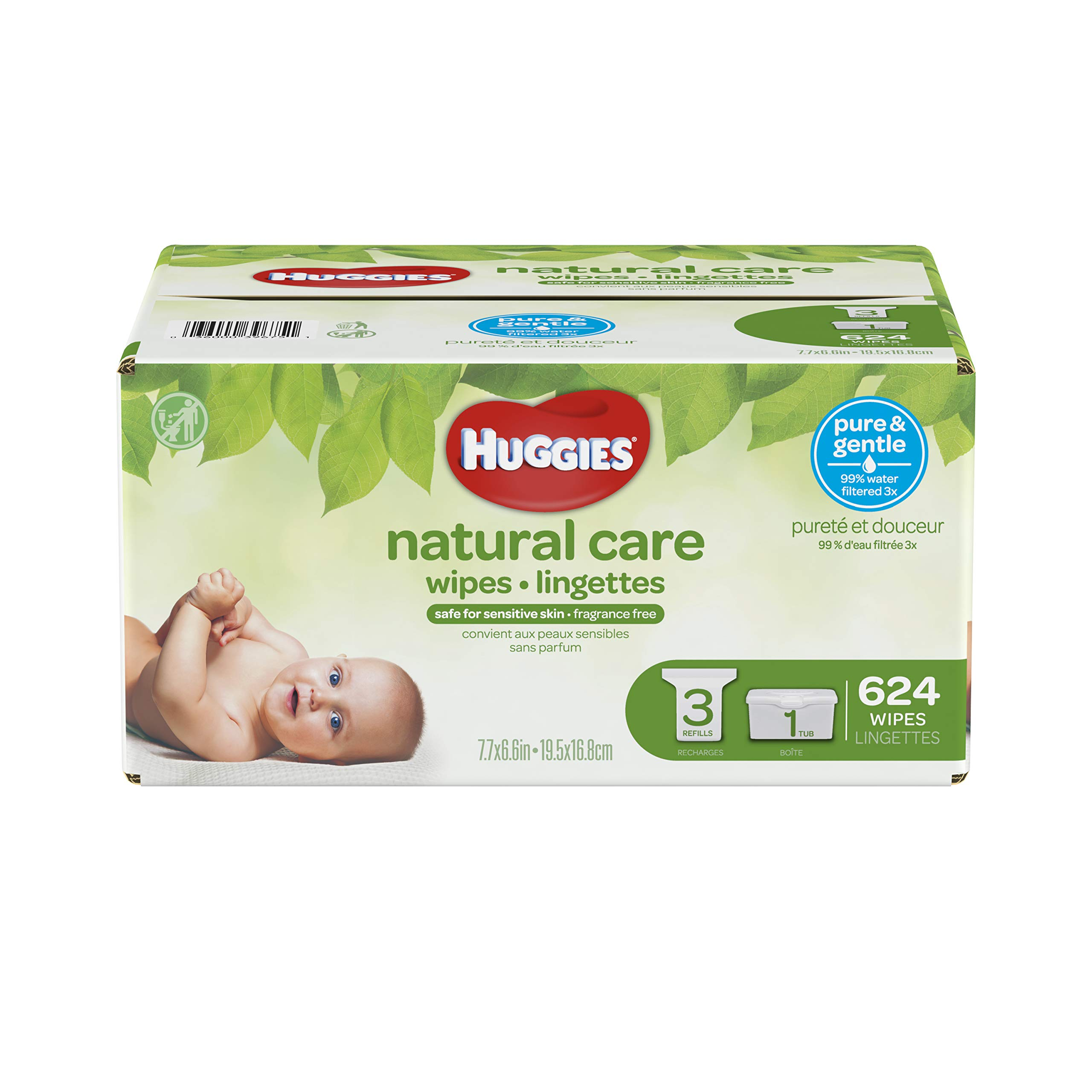HUGGIES Natural Care Unscented Baby Wipes, Sensitive, 3 Refill Packs Plus Refillable Tub, 624 Count Total by HUGGIES