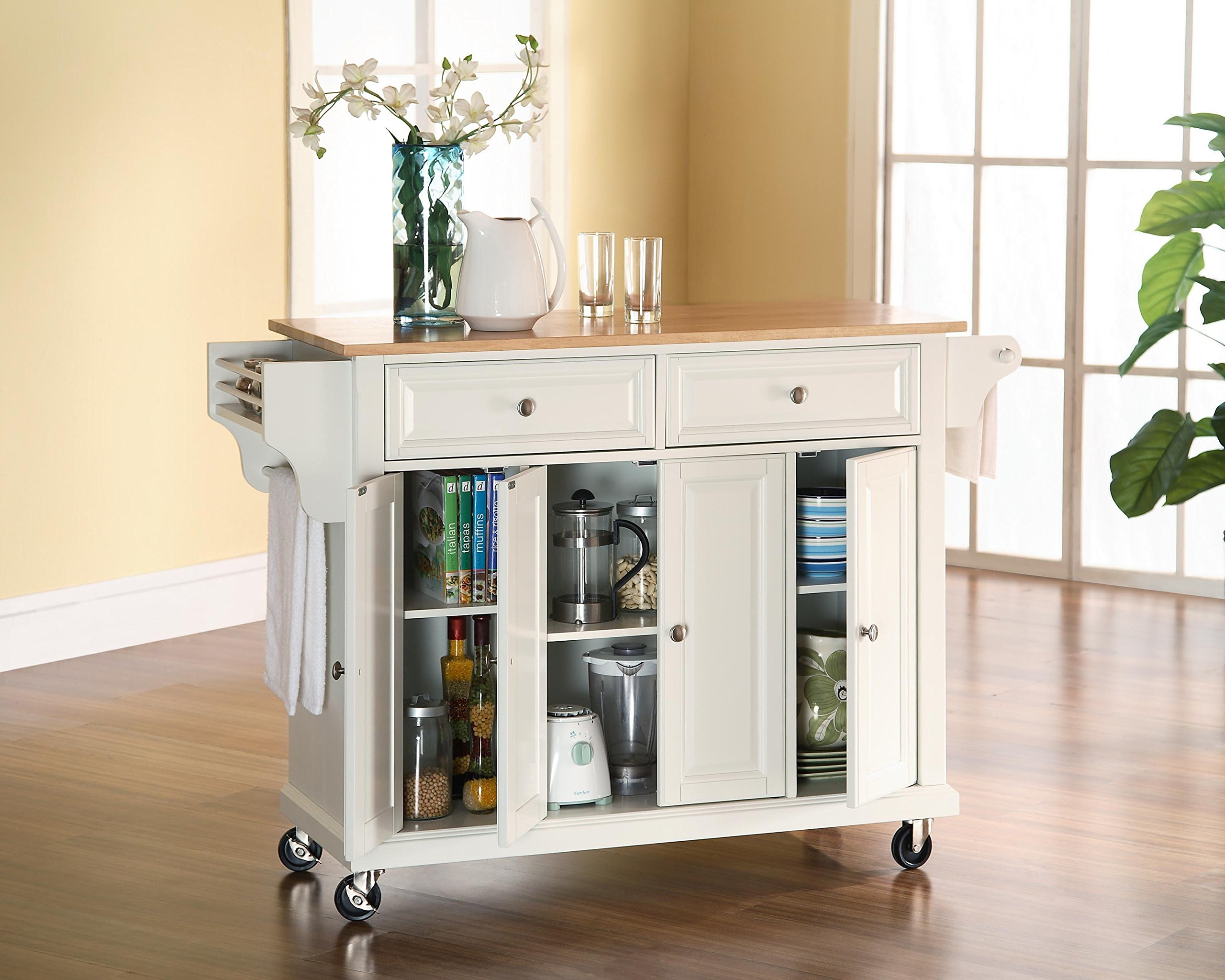 Crosley Furniture Rolling Kitchen Island with Natural Wood Top - White by Crosley Furniture (Image #5)