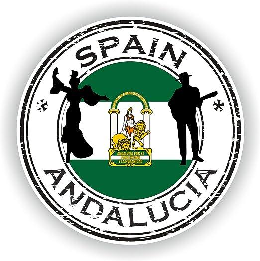 Tiukiu - Pegatina Redonda con diseño de la Bandera de España Andalucia para portátil, Libro, Nevera, Guitarra, Casco de Motocicleta, Caja de Herramientas, Puerta de PC, Barco: Amazon.es: Hogar