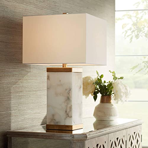 Mindy Modern Table Lamp with Nightlight Alabaster and Metal Rectangular Shade for Living Room Family Bedroom Office – Possini Euro Design