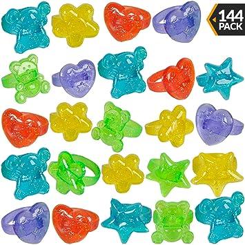 Amazon.com: Anillos de plástico con purpurina – (144 piezas ...