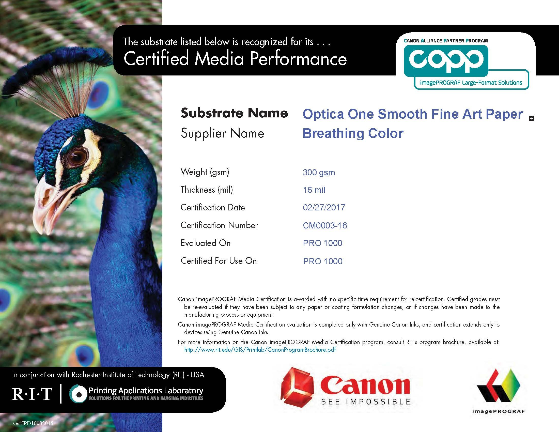 Optica One - Matte, 15.4 mil, 300gsm, Bright White, Fine Art Inkjet Paper, 44'' x 40' roll by Breathing Color (Image #4)