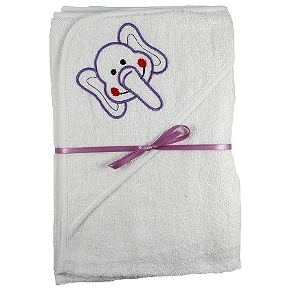 2 x Blanco Bordado con capucha nuevo nacido Bebé Cuddle Robe Toalla 60 x 60 cm