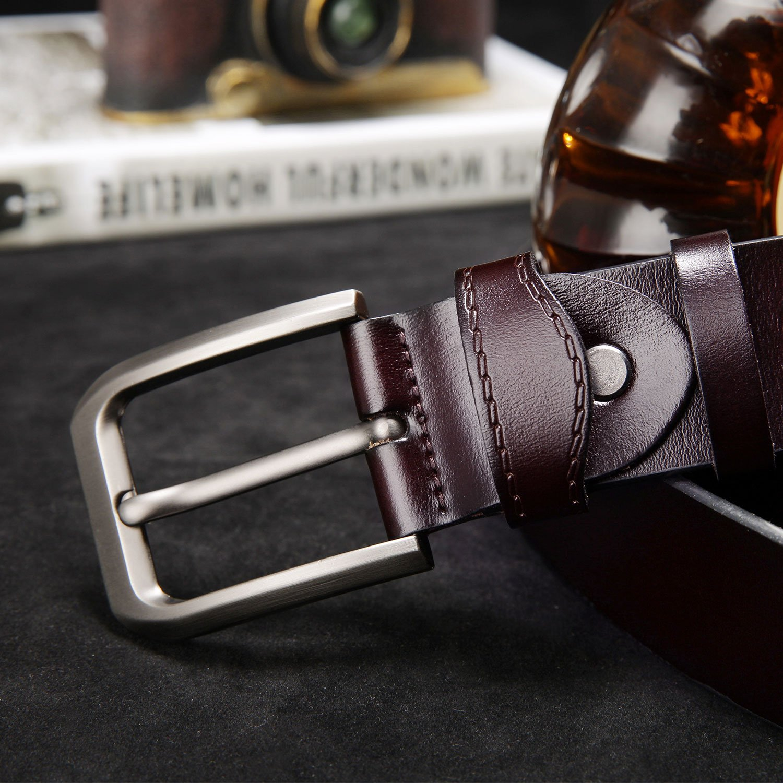 KeeCow Cinturón de Cuero Hombre,Correa de Hebilla de Pin de Aleación Para Jeans,Trajes, Ropa Informal y Formal,Café/Negro,Se…