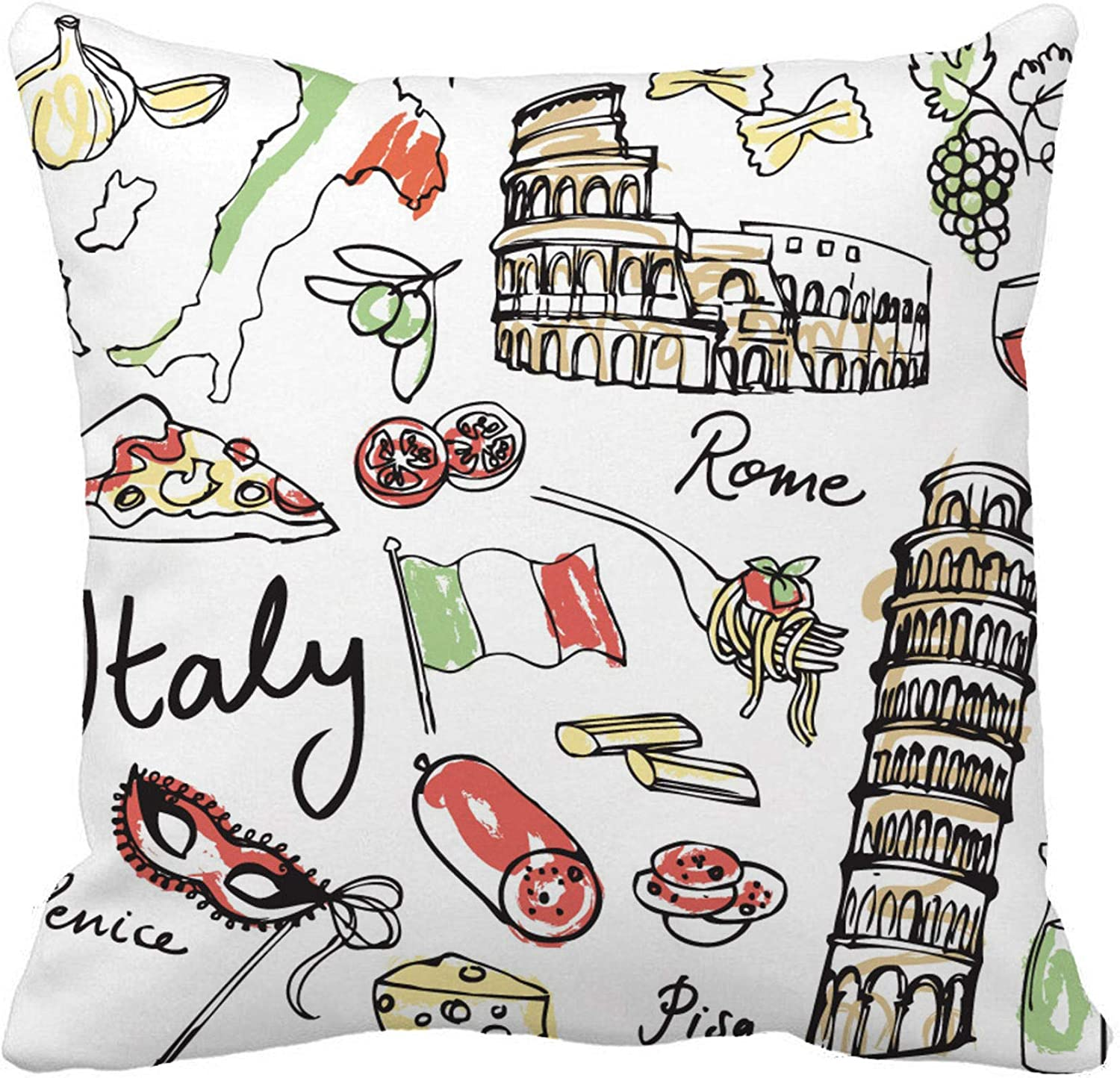 Awowee Throw Pillow Cover Italian of Italy Food Doodle Sketch Flag Rome Spaghetti 18x18 Inches Pillowcase Home Decorative Square Pillow Case Cushion Cover