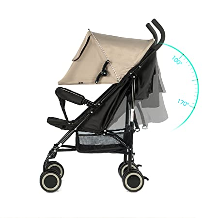 EVEZO 2141A Full-Size Ultra Lightweight Umbrella Stroller, Reclining Seat, 5-Point Safety Harness, Canopy, Storage Bin Taupe
