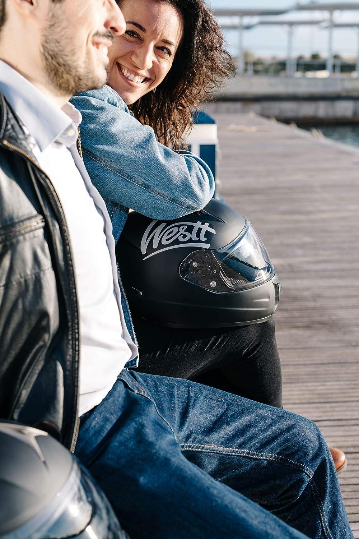 Nero Opaco Scooter per Moto certificato ECE Westt Storm X Casco Moto Integrale con Doppia Vvisiera