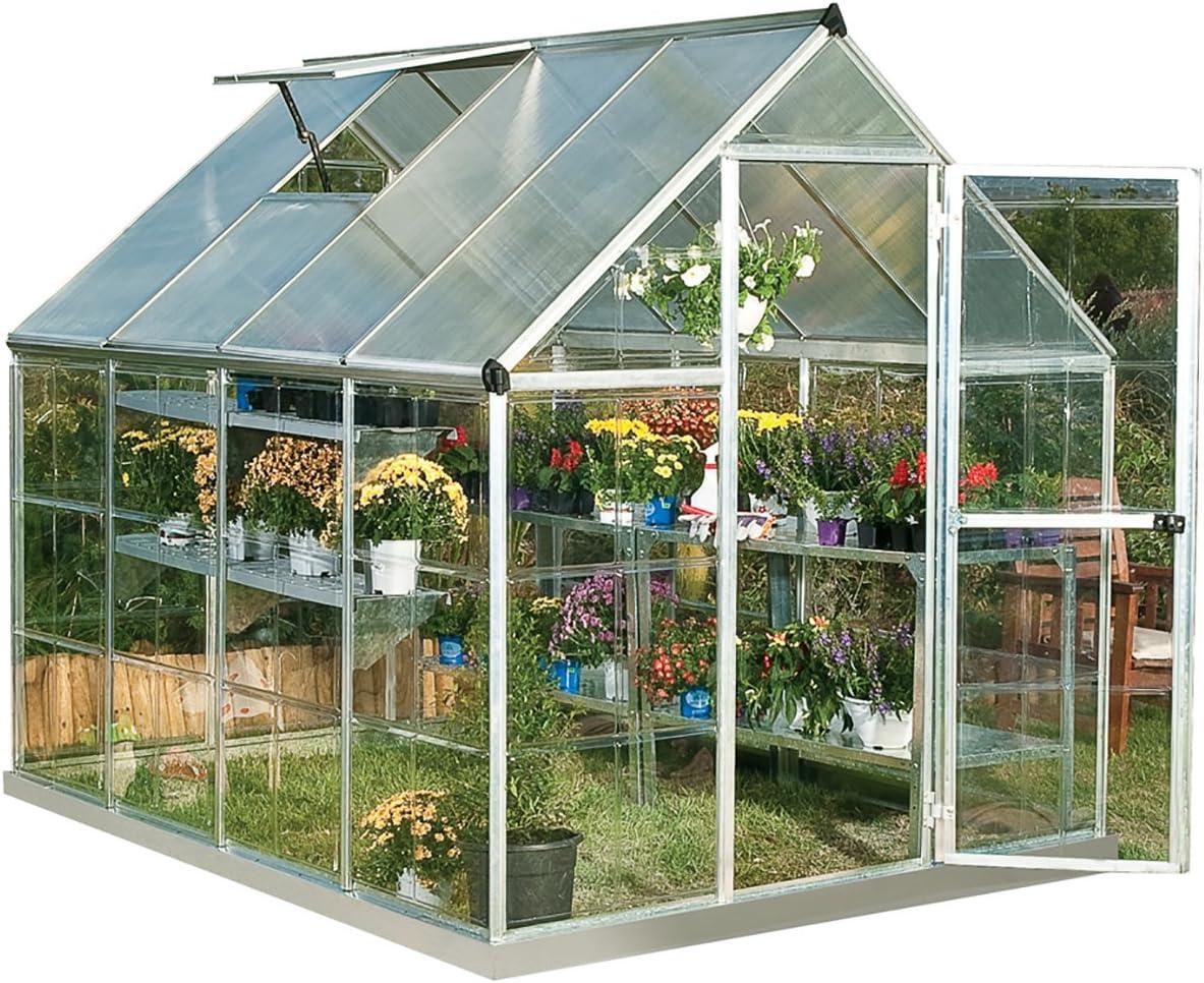 Palram HG5508PH Hybrid Hobby Greenhouse with Plant Hangers, 6′ x 8′ x 7′