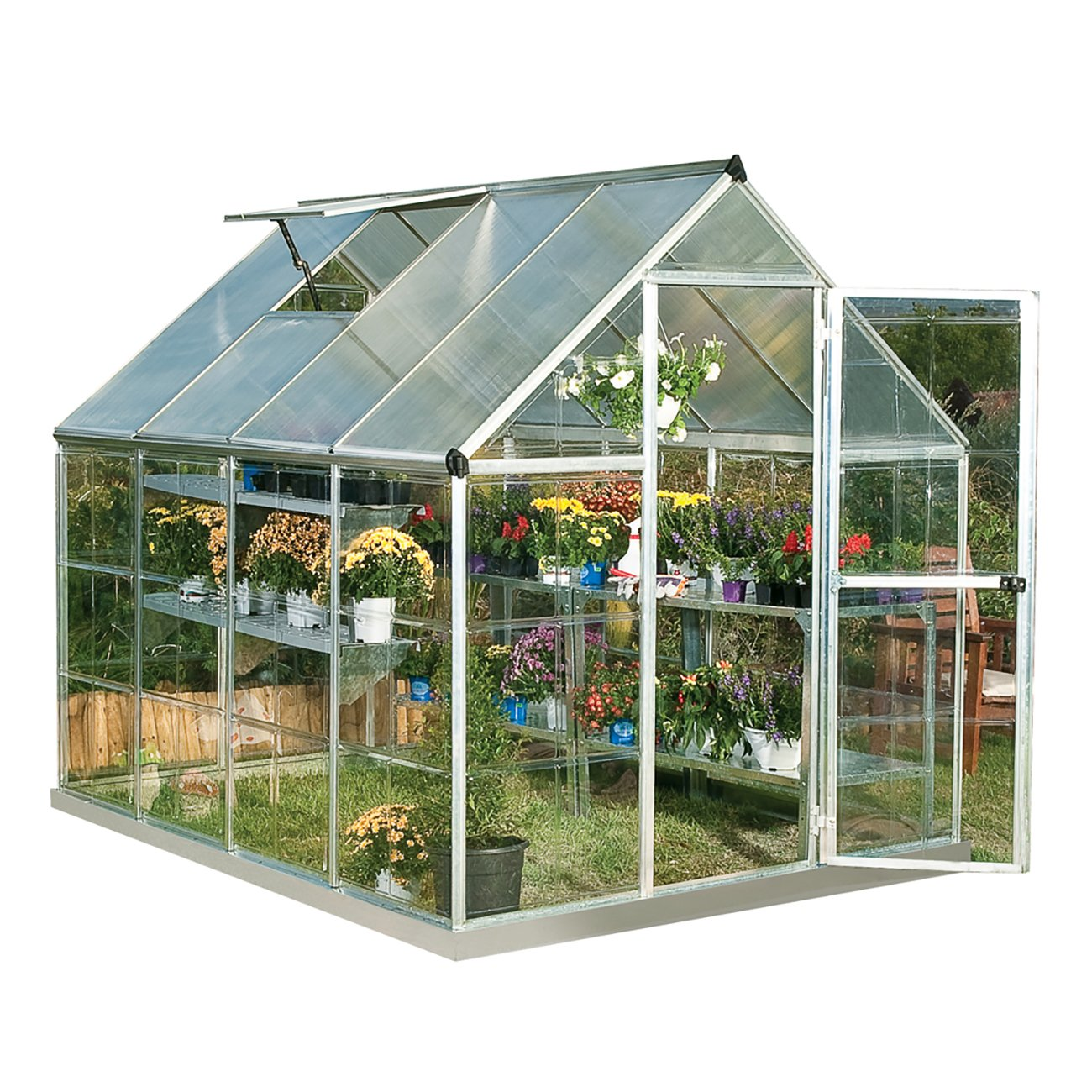 Palram Hybrid Greenhouse - 6' x 8' - Silver, Plant Hangers Included