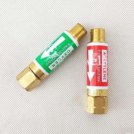 AGPtek Oxygen Acetylene Flashback Arrestors Set Regulator End 9//16-18 Threads B Size