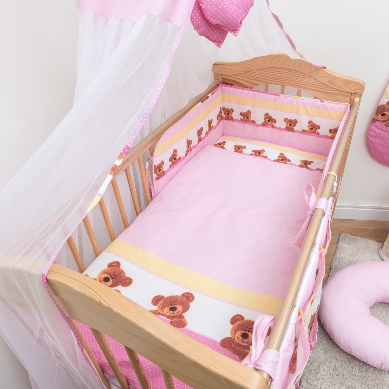 6 Pcs Cotton Baby Bedding, Regular Bumper Set 180cm/Cot Bed 140x70cm - Pattern 8 Baby Comfort