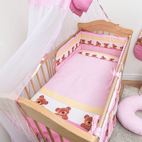 3 Piece Baby Children Bedding Set with Bumper to Fit 140x70 cm Toddler Cot Bed