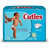 Cuties Jumbo Pack Diaper, Size 3, 144 Count