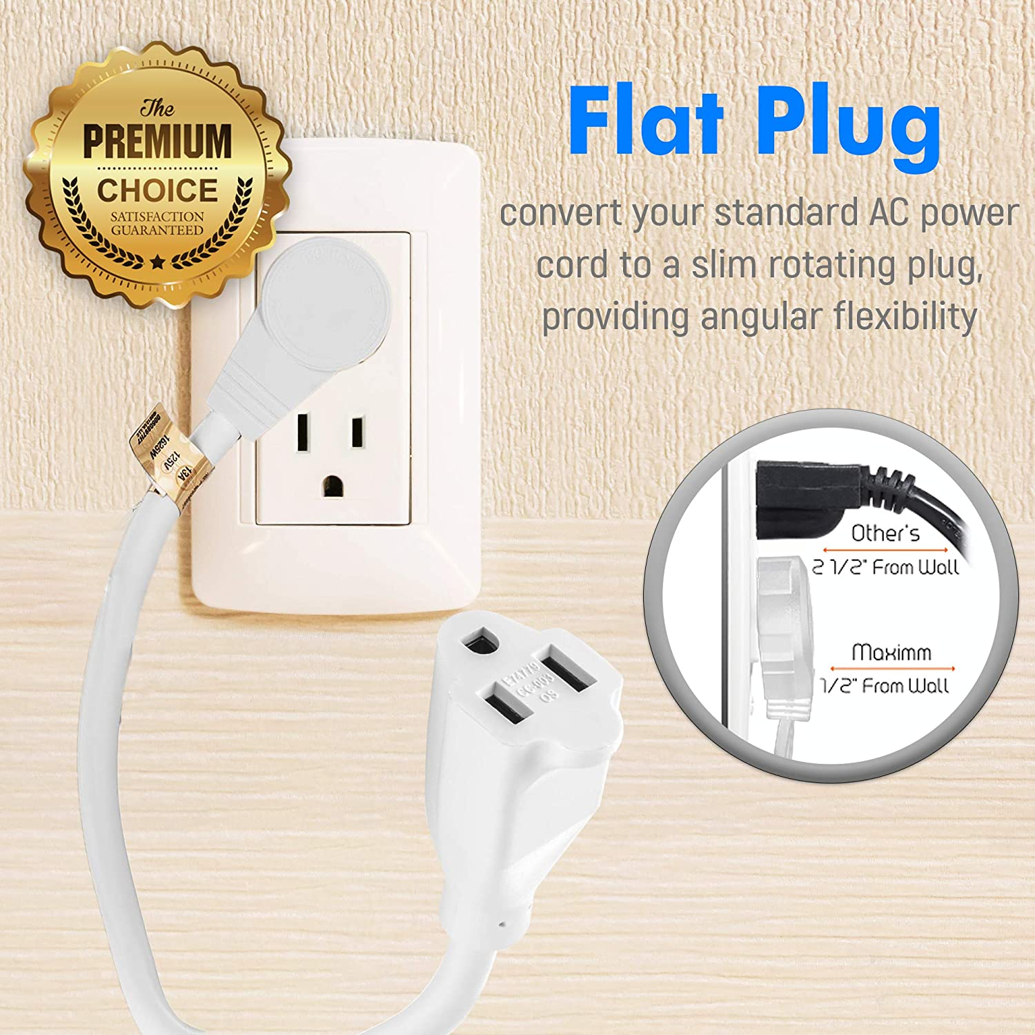 White Maximm Cable 1 Foot 360/° Rotating Flat Plug Extension Cord//Wire UL Listed 3 Prong Grounded Wire 16Awg Power Cord