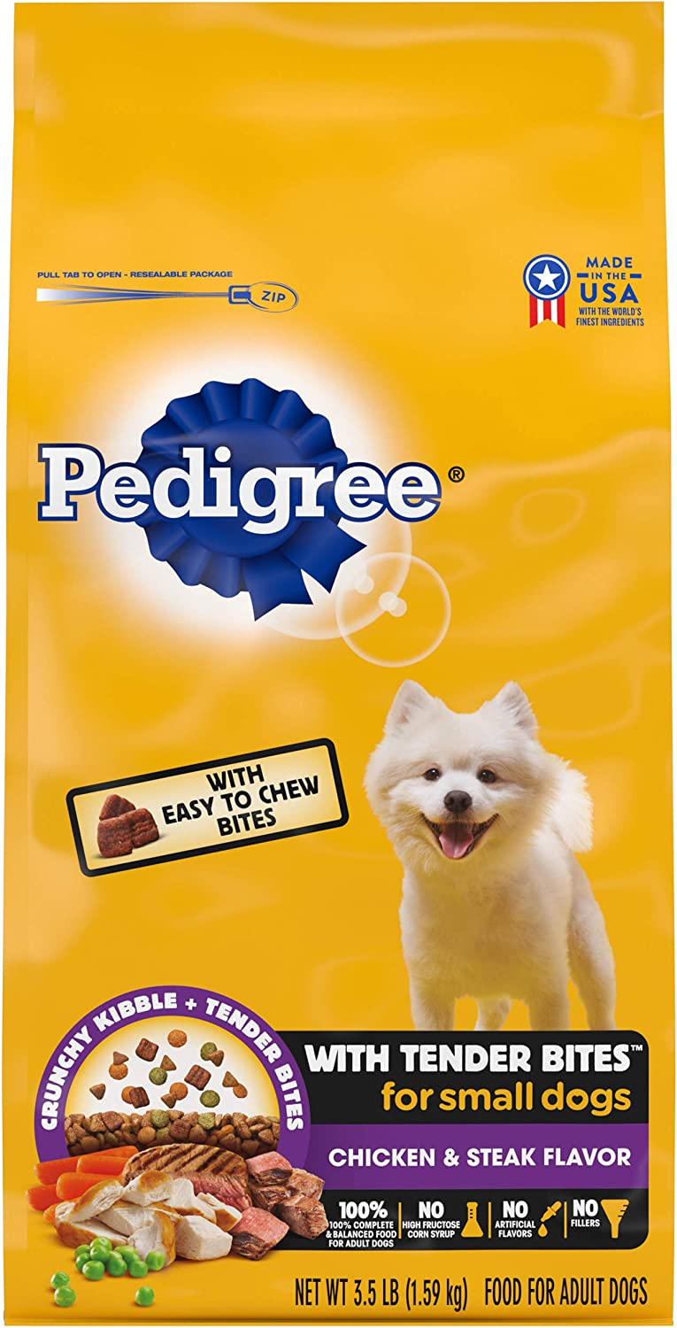 PEDIGREE with Tender Bites Small Dog Complete Nutrition Small Breed Adult Dry Dog Food, Chicken & Steak Flavor Dog Kibble, 3.5 lb. Bag