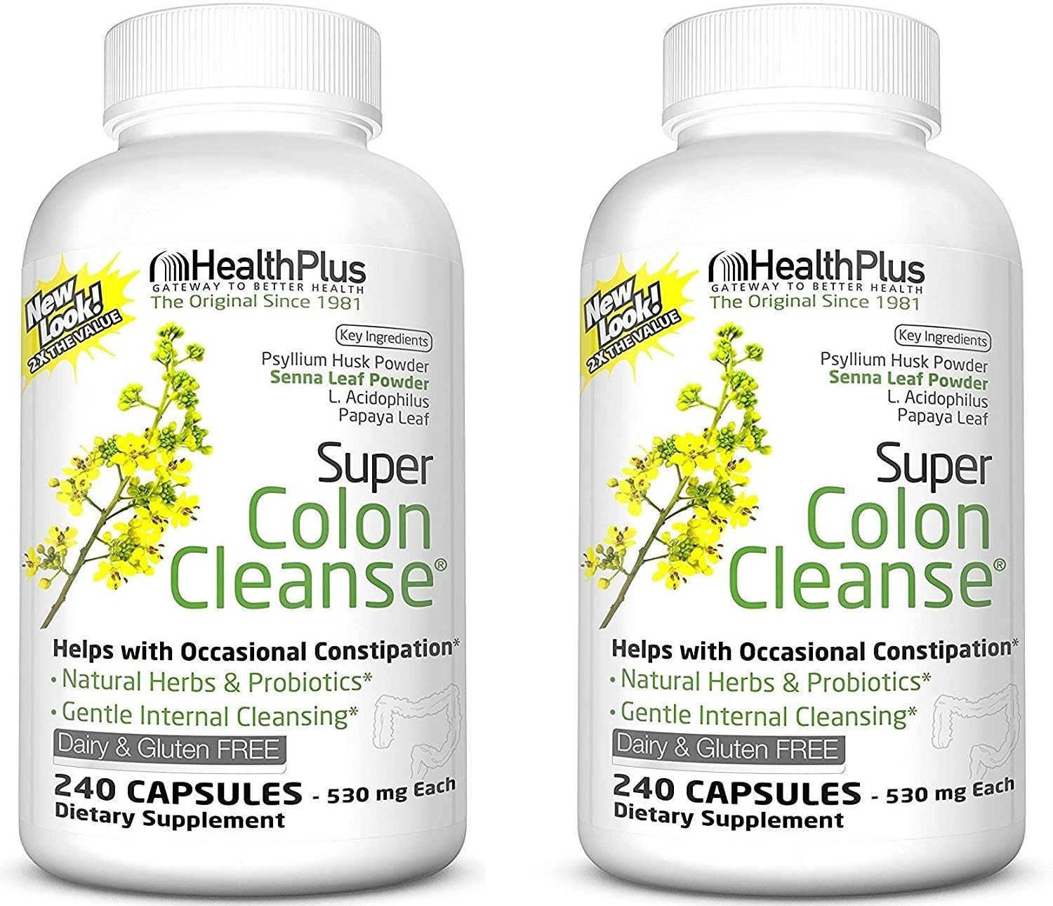 Health Plus Super Colon Cleanse 10-Day Cleanse -Detox 12 Cleanses, 480 Capsules