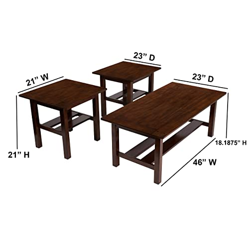 Signature Design by Ashley – Lewis Contemporary 3 Piece Table Set, Medium Brown